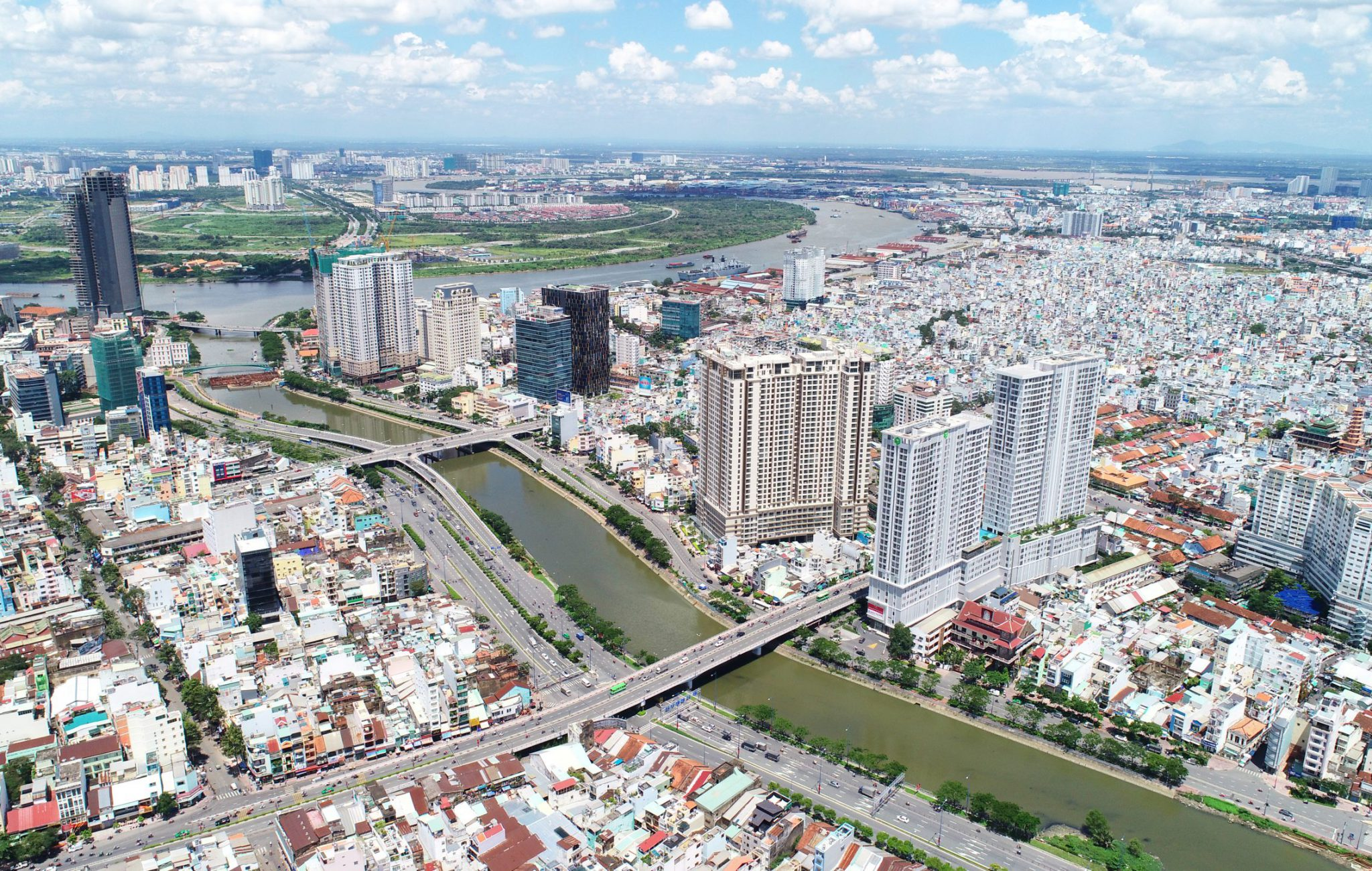 View Quận 4, sông SG hướng Đông
